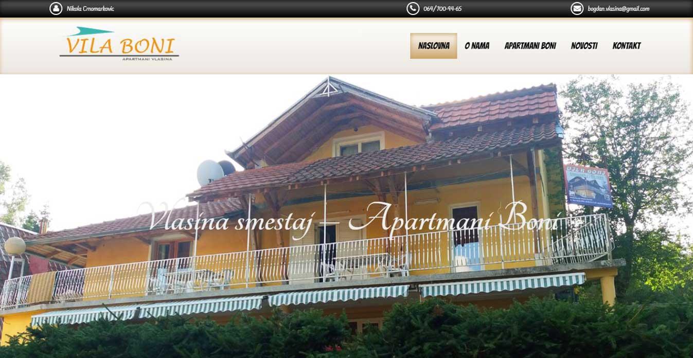 izrada sajta vila boni vlasinsko jezero